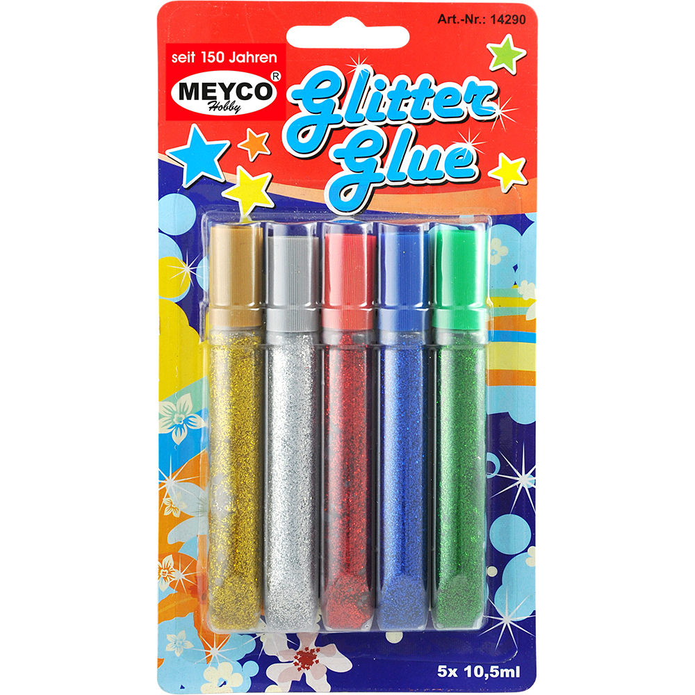 Glitterglue 5 St. je 10,5 ml p.Blister - MEYCO-