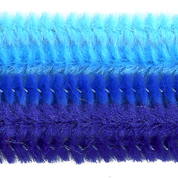 Chenille-Sortiment, blau sort., 6mm, 30cm, 25 Stk.