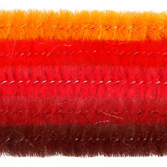 Chenille-Sortiment, rot sort., 6mm, 30cm, 25 Stk.