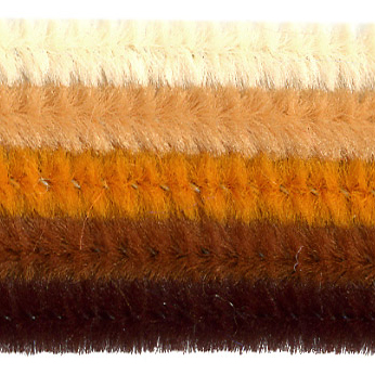 Chenille-Sortiment, braun sort., 6mm, 30cm, 25 Stk