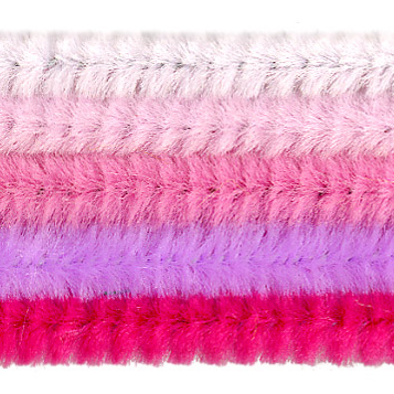 Chenille-Sortiment, rosa-sort., 6mm, 30cm, 25 Stk